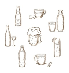 Drinks alcohol and beverages flat icons vector image