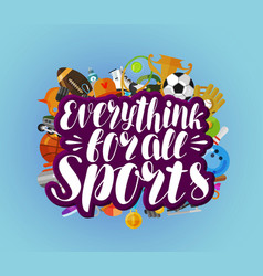 everything for all sports banner fitness sport vector image