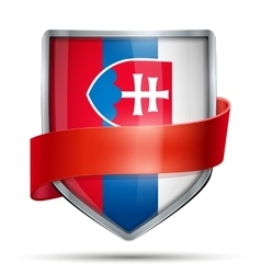 Shield with flag Slovakia and ribbon vector image vector image