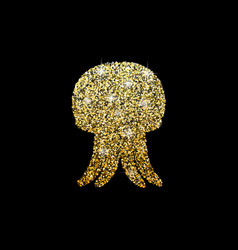 shiny logo of jellyfish golden glitter of sea vector image vector image
