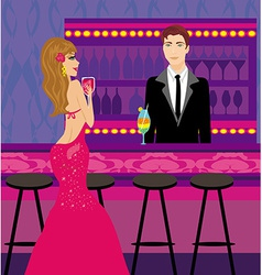bartender gives drinks a beautiful woman vector image vector image