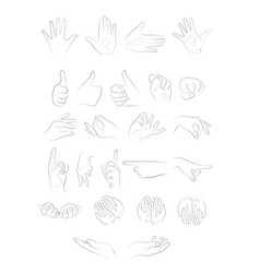 different positions of the hands vector image vector image