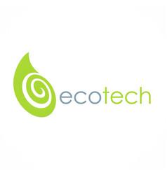 eco green leaf technology logo vector image vector image