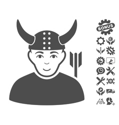 Horned Warrior Icon With Tools Bonus vector image