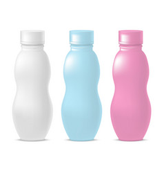 realistic template blank color yoghurt bottle pack vector image