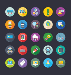 pack of network communications coloured flat icon vector image vector image