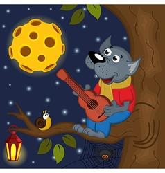 Wolf at full moon plays guitar vector