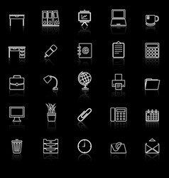 workspace line icons with reflect on black vector image vector image