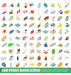 100 piggybank icons set isometric 3d style vector