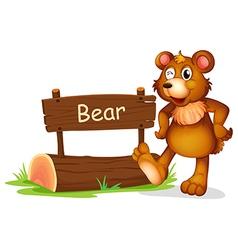 A bear beside a sign board vector