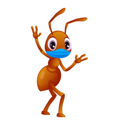 Adorable ant in a face mask is waving cartoon vector