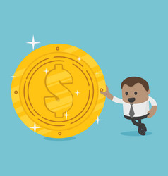 African businessman with dollar coin vector