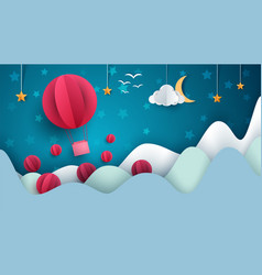 air balloon cartoon paper landscape vector image