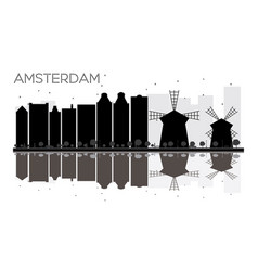 amsterdam city skyline black and white silhouette vector image vector image