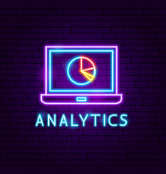 analytics neon label vector image
