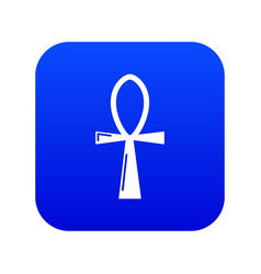 Ancient egyptian cross ankh icon blue vector