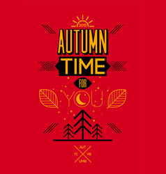 Autumn time retro typographical poster design vector