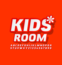 banner kids room with flower red font vector image