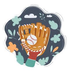 baseball glove on human vector image