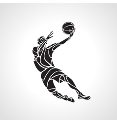 Basketball player Slam Dunk Silhouette vector image
