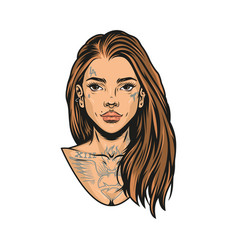 Beautiful latino girl with long hair vector