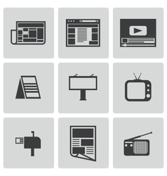 black advertisement icons set vector image