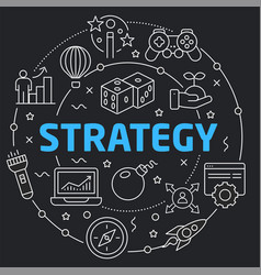 Black line flat circle strategy vector