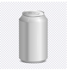 Blank aluminum soda can on transparent background vector