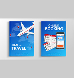 Brochure or flaer travel and online bookung vector
