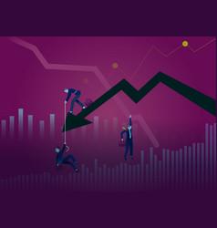 Business concept chart falling businessman vector
