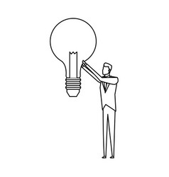 Businessman holding lightbulb idea concept icon vector
