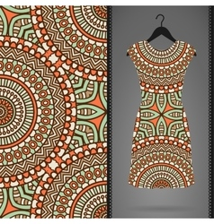 Card with dress and seamless pattern vector image