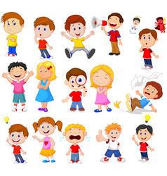 cartoon kids with different expression vector image