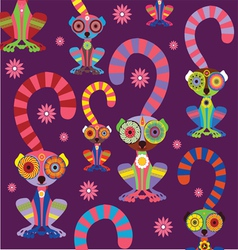 cartoon lemur pattern dark background vector image