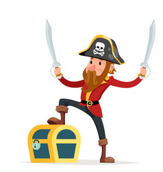 Cartoon pirate with treasure chest character vector