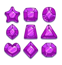 Cartoon purple different shapes gems vector image