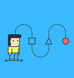 Character creates a logical chain and looking vector