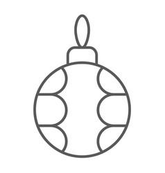 christmas tree ball thin line icon xmas bauble vector image