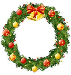 christmas wreath with golden b vector image