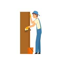 cleaning man wiping dust from locker male worker vector image