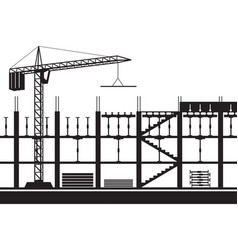 construction of scaffolding for concrete slab vector image
