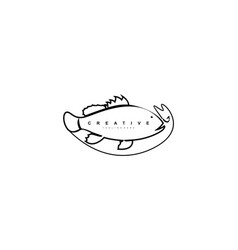 creative abstract artistic linear bold fish logo vector image