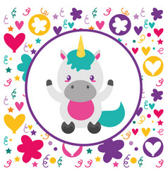 cute baunicorn flowers heart background vector image