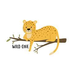 Cute leopard and slogan print design vector