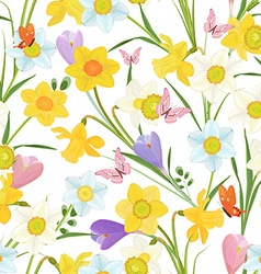 cute seamless texture with spring flowers vector image