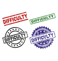 damaged textured difficulty stamp seals vector image