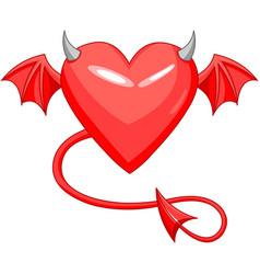 Devil love horned heart vector