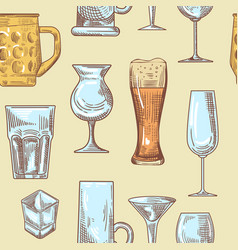 different drink beverage glasses seamless pattern vector image