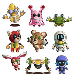 Different robot icons vector