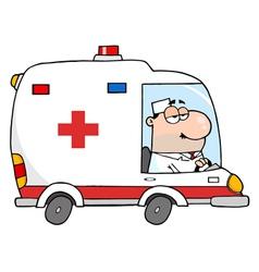 Doctor Driving Ambulance vector
